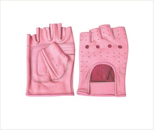 Ladies Pink Leather Fingerless Gloves W/Padded Palm AL-3012-M