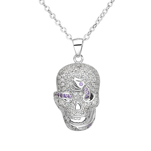 Purple Snake Pendant - EVER FAITH Women's 925 Sterling Silver CZ Halloween Gothic Skull Purple Snake Pendant Necklace Clear