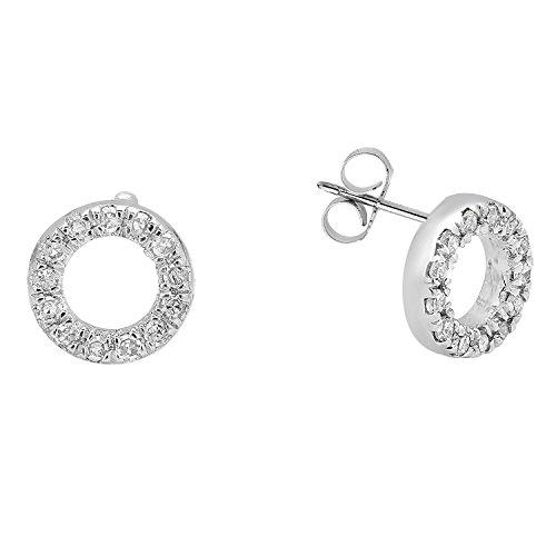 Dazzlingrock Collection 10K Round White Diamond Ladies Circle Shape Fashion Stud Earrings 1 10 CT, White Gold