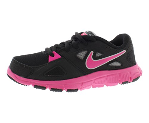 Nike Girls Flex Supreme Running Shoe Black/White/Pink Foil Size 7