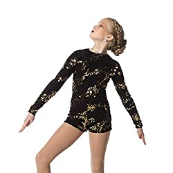 Gold Sequin Dance Performance Biketard for Girls