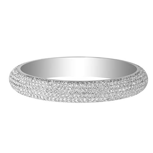 (RIVERTREE Silver White Stainless Steel Crystal Bangle Bracelet - Size 2-10/16 Large - Paved with Crystal from Swarovski Elements)
