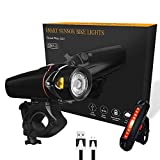 Karrong Bike Light Set USB Rechargeable Waterproof LED Headlight and Taillight Easy to Install & Quick Release for All Bikes Road Cycling Flashlight