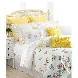 Lenox Flowering Meadow Queen Comforter Set Ivory Yellow Floral