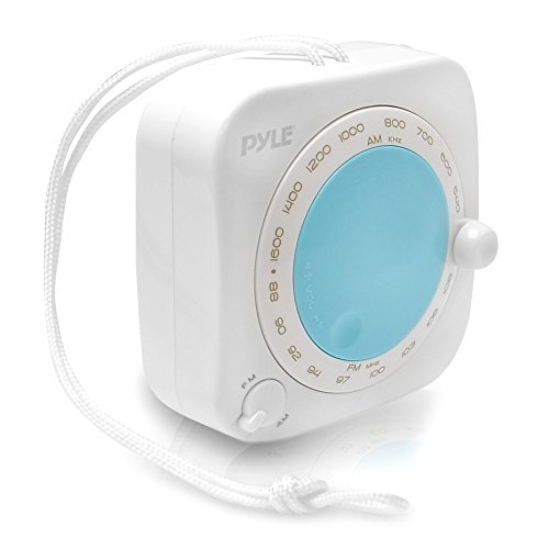 Pyle PSR7 Splash Proof Water Resistant Mini AM/FM Radio with Hanging Strap, Rotary Volume Control, Manual Tuner (Finding The Best Waterproof Shower Radio)