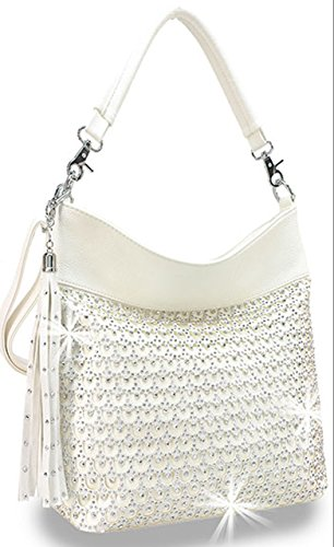 Zzfab Laser Cut Circle Sparkle Hobo Bag White (Circle Hobo Bag)