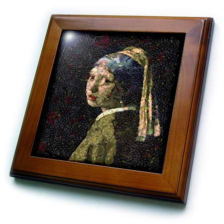 3dRose Taiche - Digital Art - Vegetable Decoupage - Girl with A Strawberry Earring - 8x8 Framed Tile (ft_305950_1) ()