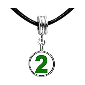 Chicforest Silver Plated Green Number 2 Photo White Crystal(April Birthstone) Flower dangle Charm Beads Bracelets European Bracelets Compatible