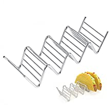 Taco Holder Stand Stainless Steel Taco Rack Holds Hard or Soft Shells, 3-4 Compartments