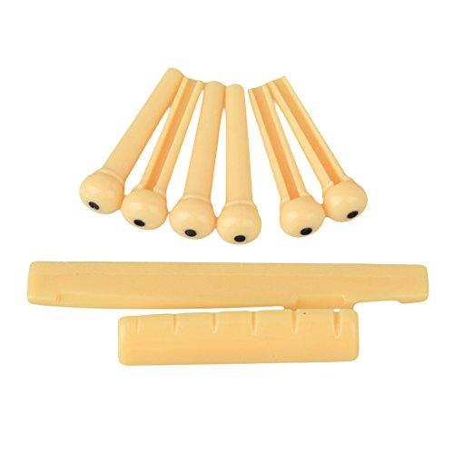 Set of Acoustic Guitar Bridge Pins Saddle Nut Yellow - 4