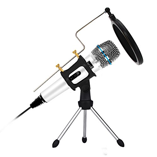 Professional Condenser Microphone Recording with Stand for PC Computer iphone Phone Android Ipad Podcasting, Online Chatting Mini Microphones by XIAOKOA (M30-White) by XIAOKOA
