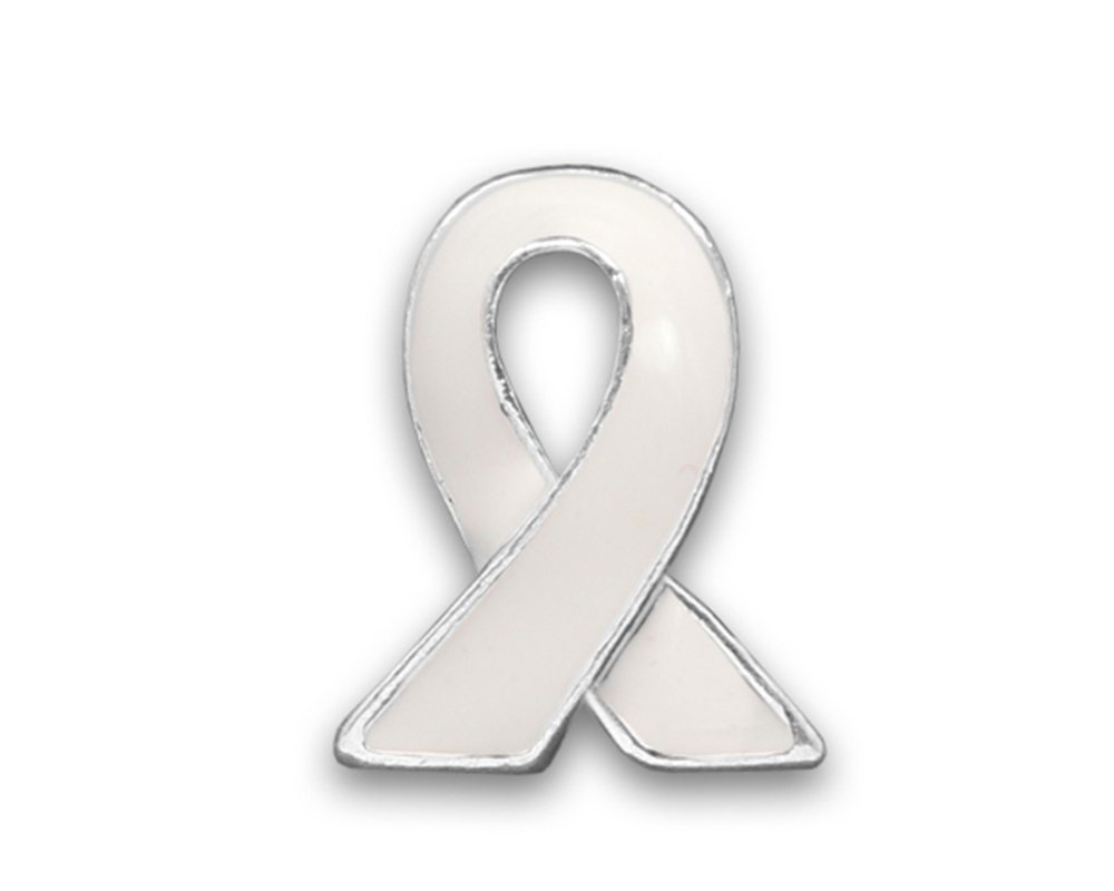 50 Lung Cancer Awareness White Lapel Ribbon Pins (50 Pins - Wholesale)