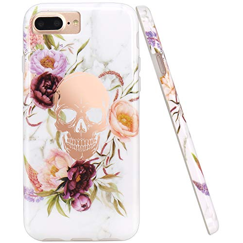 (JIAXIUFEN Shiny Rose Gold Flower Skull White Marble Design Slim Shockproof Flexible Bumper TPU Soft Case Rubber Silicone Cover Phone Case Compatible with iPhone 7 Plus/8 Plus/6 Plus/6S)