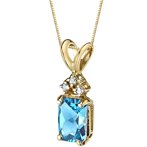 (14 Karat Yellow Gold Radiant Cut 1.00 Carats Swiss Blue Topaz Diamond Pendant)