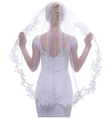 Greenia Crystal Appliqued Tulle Short Wedding Veil with Comb (free, White 2) by Greenia