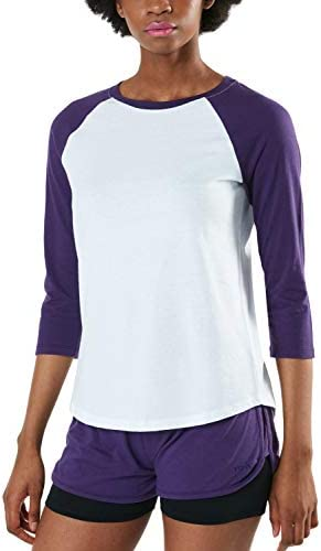 レディース 綿 Tシャツ ラウンドネック 長袖・3/4スリーブ 七分袖・インナー タイツ付きショーツ [UVカット・吸汗速乾] ダイナミックコットン ロングスリーブ カットソー