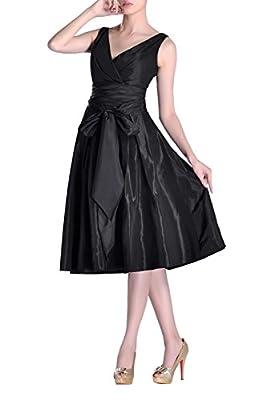 Formal A-line V-neck Strapless Tea Length Pleated Taffeta Bridesmaid Dress