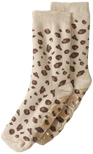 Country Kids Little Girls' Non-Skid 1 Pair Slipper Socks, Lulu Leopard Tan, Sock Size 7-8/Shoe size 9-1.5 - European Kids Socks