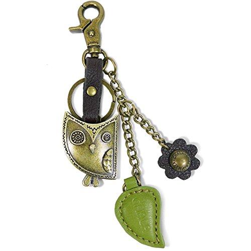 Charm Metal Keychain (Chala Bronze Color Metal- Purse Charm, Key Fob, keychain decorative accessories (Owl Green))