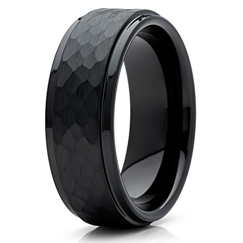 (Silly Kings 8mm Black Hammered Tungsten Carbide Wedding Band Stepped Edge Mens Comfort Fit Ring 12.5)