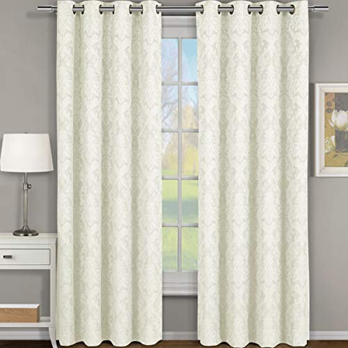 Blair Off-White / Ivory Top Grommet Jacquard Window Curtain Panel, Set of 2 Panels, 108x96 Inches Pair, by Royal Hotel