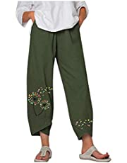 fartey Cotton Linen Pants for Women Summer Casual Loose Trousers Embroidered Wide-Leg Pants with Pockets