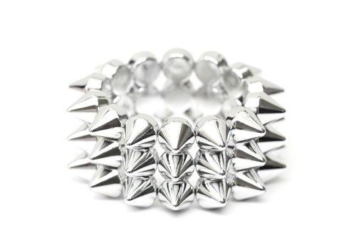 Magic Metal Layered Spike Studs Stretch Cuff Bracelet Silver Tone BC11 Edgy Punk Bangle Fashion - Spike Layered