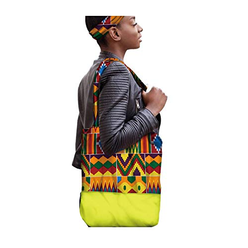African New Fashion Bucket Bags And Headwraps Women Handmade Canvas Handbag Reusable ()