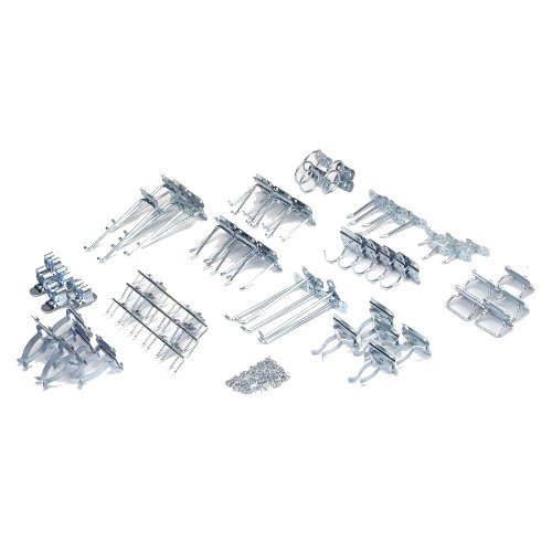 Industrial Clip Closed Shelving - Triton Products LH2-Kit LocHook 63 Piece Zinc Plated Steel Hook Assortment for LocBoard