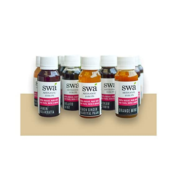 Swa Artisanal Syrups - Sample Pack of 14 Flavours for Cocktails / Mocktails / Teas / Craft Coffees - 100% Natural (14 x 60ml, Each Sample Makes 2 Drinks)