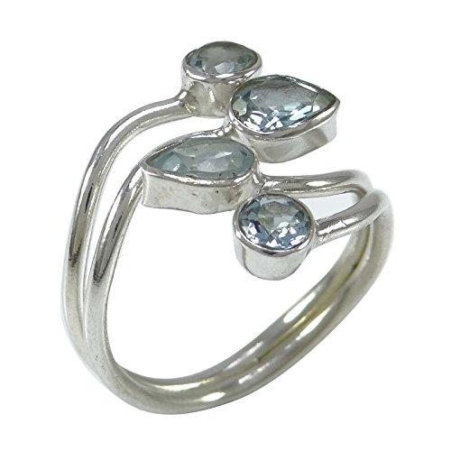 Banithani 925 argent pur bleu concepteur topaze bague bande indienne de bijoux fantaisie