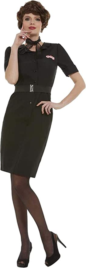 Pin Up Girl Costumes | Pin Up Costumes Smiffys Ladies Fancy Dress Party Grease Rizzo Costume Outfit Large (UK Dress 16-18) Black $83.99 AT vintagedancer.com