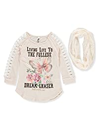 Beautees Girls' Top with Scarf