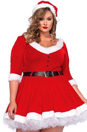 Maribou Trim (O&W Women Maribou Trim Sweetheart Neck Plus Miss Santa Dress Costume XL)