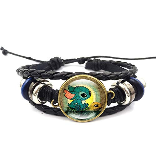 Lilo Stitch Bracelet Stitch and Turtle Beaded Hand Woven Leather Bracelet Braided Punk Chain Cuff