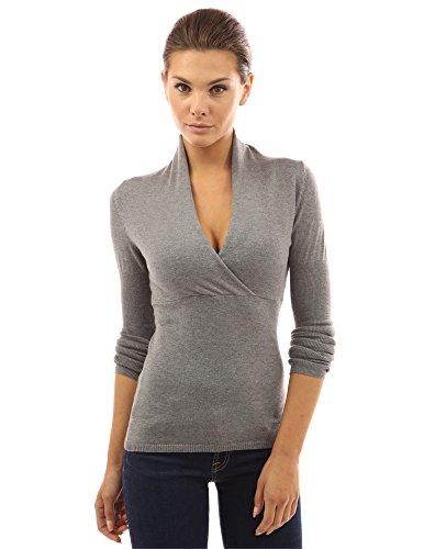 PattyBoutik Women's V Neck Empire Waist Knit Top (Heather Gray S)