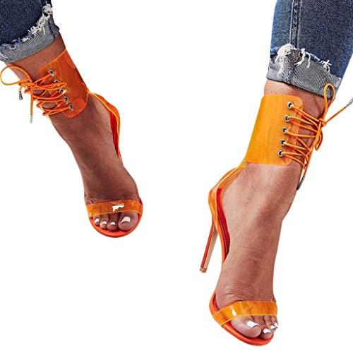In Sexy Da Col Pizzo Donna Eleganti ❤promozione Open Scarpe Con Sandali sandali Donna Donna Tacco Alto sandali Zeppa Arancia Toe O1nqPvO