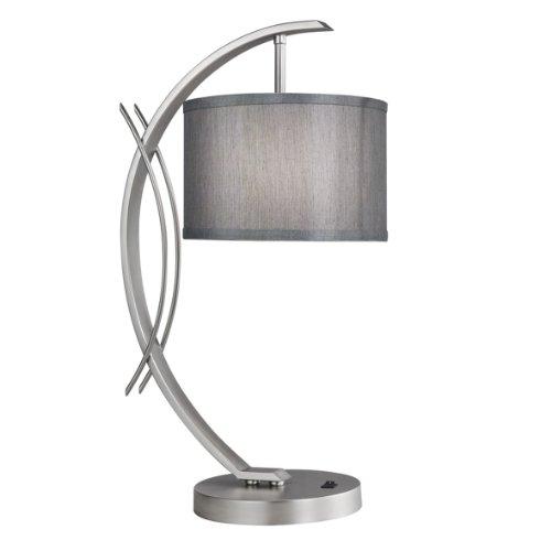 "Woodbridge Lighting 13481STN-S10802 Eclipse Satin Nickel Table Lamp, 21.75"" x 0"" x 7.5"", Grey Shade from Woodbridge Lighting"