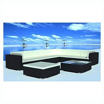 K&A Company Outdoor Furniture Set, Garden Lounge Set 24 Pieces Poly Rattan Black