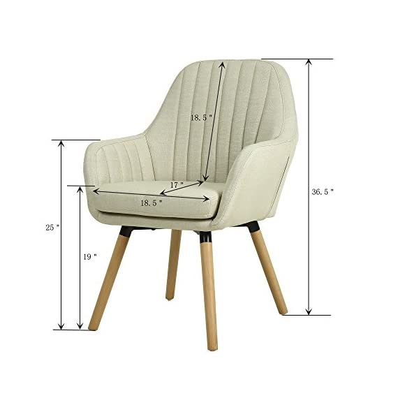 """LSSBOUGHT Contemporary Indoor Muted Fabric Arm Chair, Accent Chair with Solid Wood Frame Legs (Beige) - Sold as one arm chair, frame construcation have been rigorously tested during simulated house and transportation environment to improve durability. Overall dimension: 23"""" D X 26"""" W X 36.5"""" H, dimension details showed in the display picture. Solid wood frame legs come in a light brown finish. Corners are glued, blocked and stapled. - living-room-furniture, living-room, accent-chairs - 413Dt44lRKL. SS570  -"""