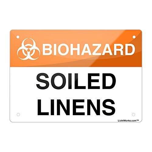 Biohazard Aluminum Metal Sign Soiled Linens, 8