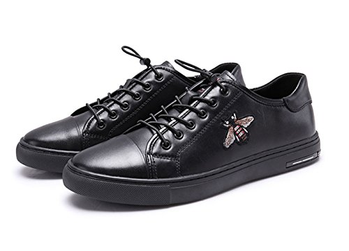 Honeystore Bee Leather Sneaker Lace Embroidered Men's up Flats Shoes Black vv0q7rwn5