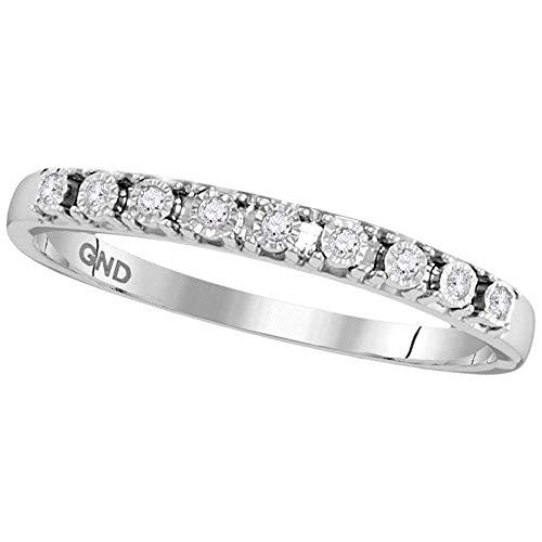 Jewel Tie - Size 6 - Solid 10k White Gold Round Diamond Illusion-set Band 1/20 Cttw.