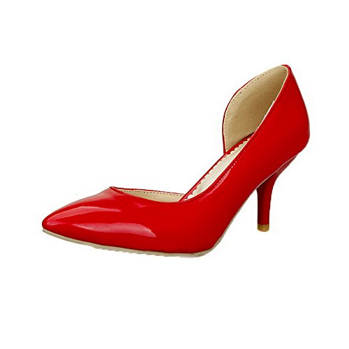 Heels AllhqFashion Closed Solid Patent Leather Pumps Shoes Red Kitten Womens Toe r7rqYX