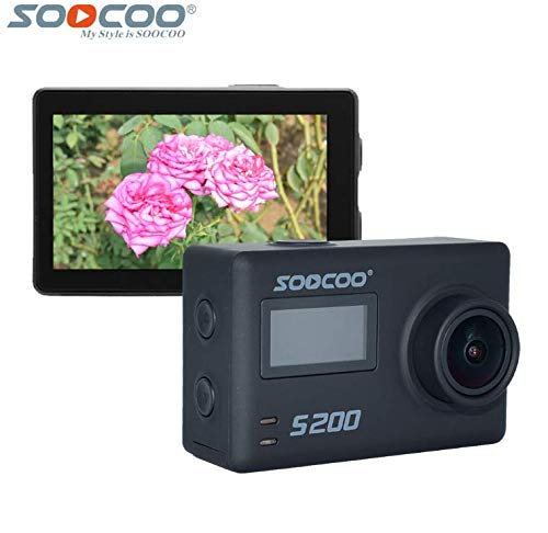 "16GB TF Card+SOOCOO S200 4K WiFi Sports Action Camera 2.45"" LCD Touchscreen Voice Control Waterproof 170 Degree Wide-Angle Lens Remote Control+1pcs Extra Battery+GPS Module+External MiC(Gray) SOOCOO"