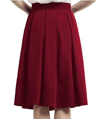 Mi Jupe Rouge Elastique Jupe Zipper Pliss Morbuy Taille Taille Cocktail Femme Jupe Fonc lgante Haute Poche Casual Longue EqXxSwda