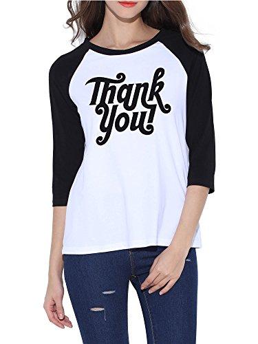 Merry Christmas Fabric (HUHOT Thanksgiving Shirt for Women Soft Crew Neck 3/4 Sleeve Merry Christmas Tee (Small, Thankyou))