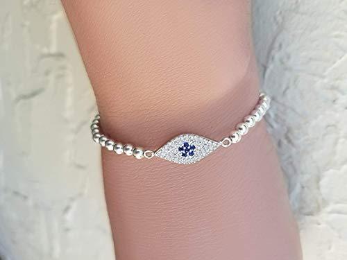 Silver 925 Handmade Evil Eye Bracelet on Beads