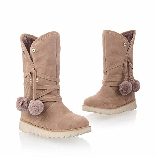 Carol Shoes Women's New Style Platform Pom-poms Short Snow Boots Beige HlctzaFQ