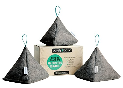 Bamboo Charcoal Air Purifying Bag by Purely Basic (Set of 3) | Activated Charcoal Odor Absorber | Natural Air Purifier & Freshener for Home, Car, Garage, Pet Areas & More | Organic Room Deodorizer ()